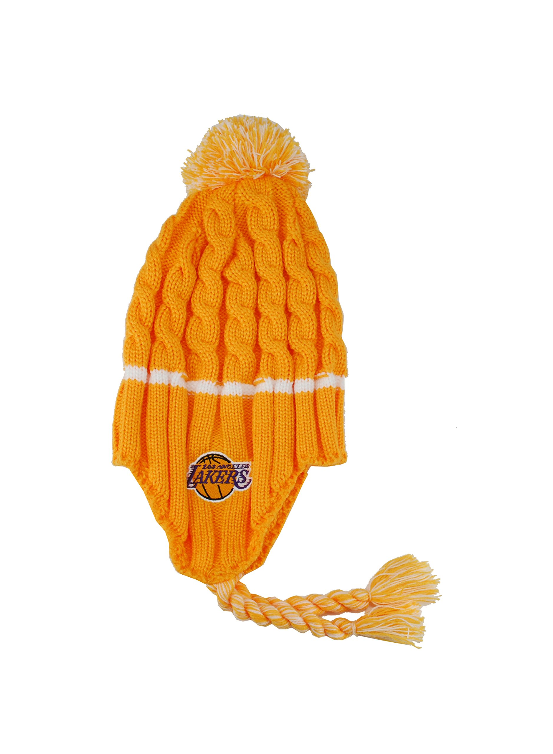 Adidas Kid's Los Angeles Lakers Headwear Tassle Gold/White Beanie by adidas (Image #1)