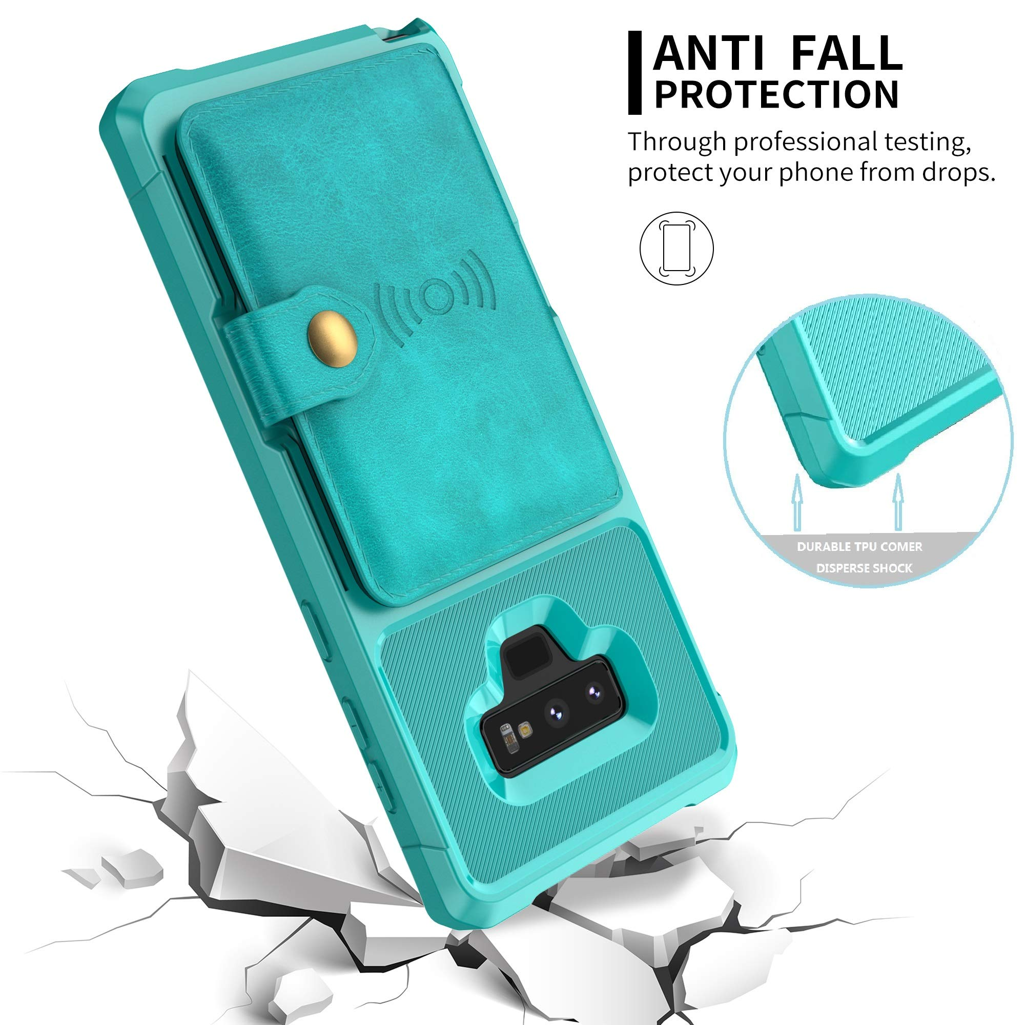 Galaxy Note 9 Wallet Case, Sumsung Note 9 Flip Leather Kickstand Fit Magnetic Wireless Car Charger Mount Slim Durable Shockproof Protective Card Slots Holder Case Cover (Turquoise)