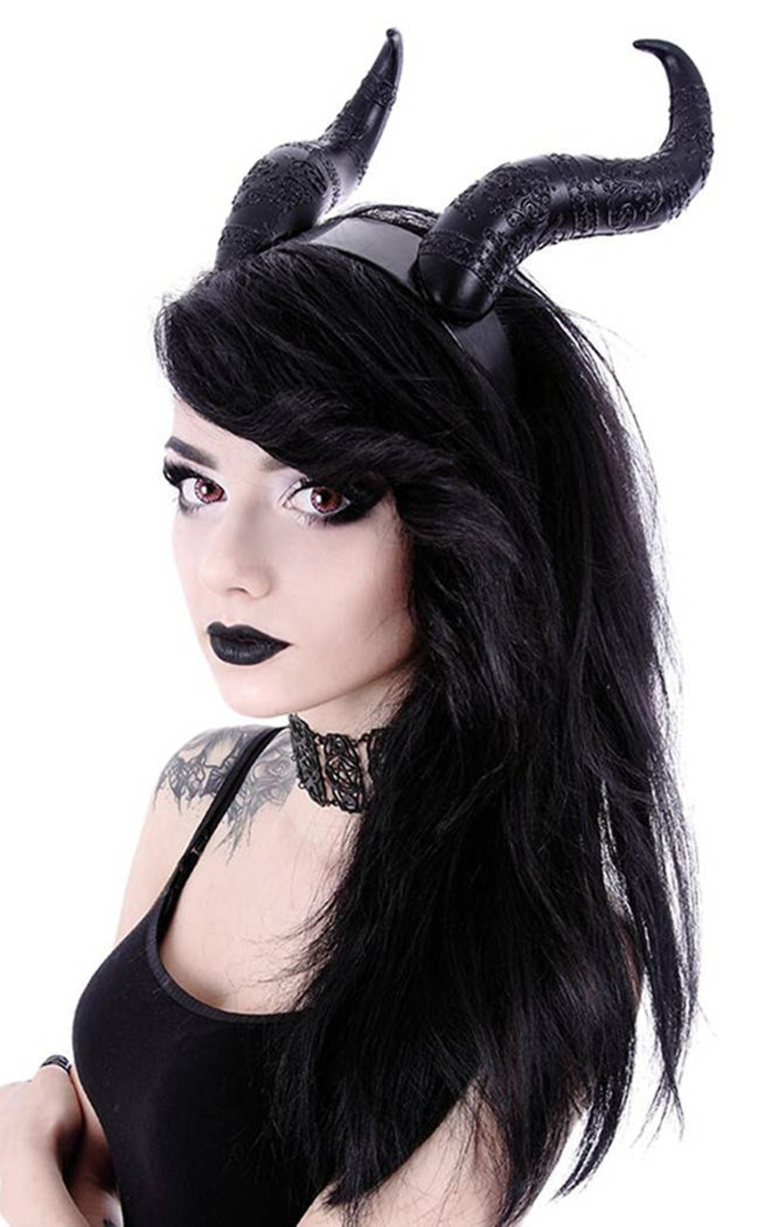 Restyle Gothic Hair Headband Maleficent Horns Nu Goth - Black (One-Size)