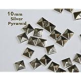 100pc Hotfix Iron On, 10mm Flat Back Silver Pyramid Studs -FlatBack Glue on Studs