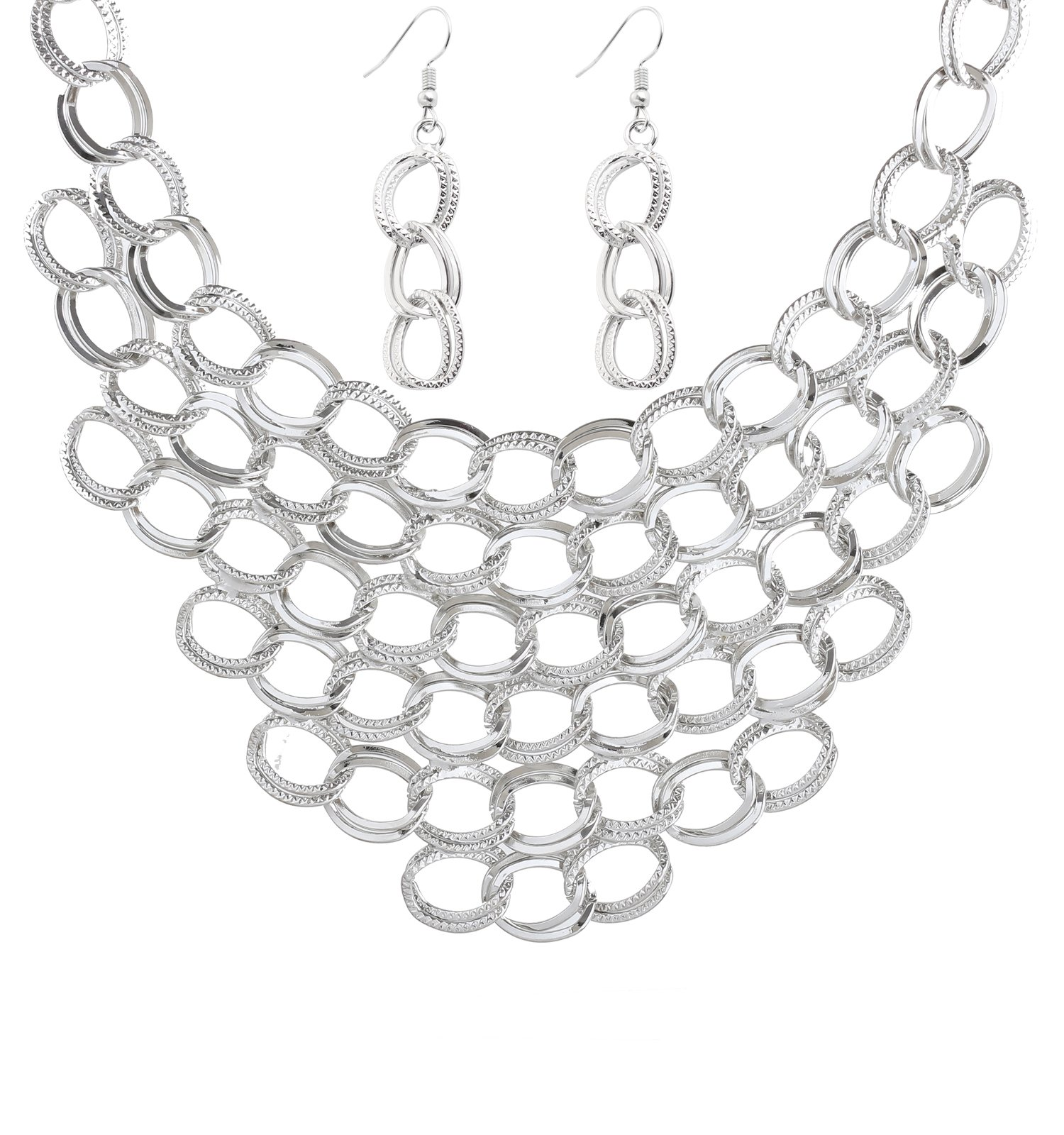 Isaloe Women Choker Necklace Statement Crochet Bib Necklace Earring Sets (Silver)