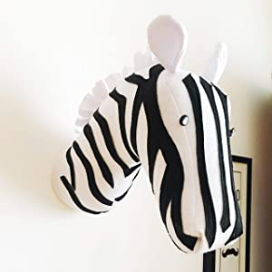 Zebra head wall mount decor, stuffed animal head wall decor, stuffed animal mounts for wall, zebra faux taxidermy