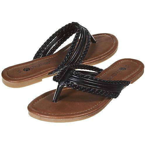 764150e2eb88f Sara Z Womens Triple Braided Flip Flop Thong Sandal Size 5 6 Black