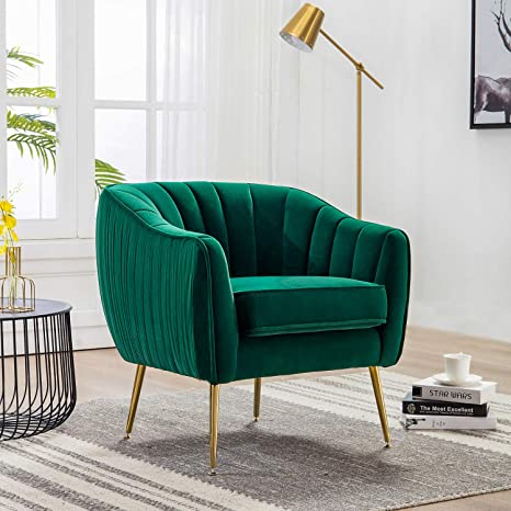Cool Altrobene Curved Tufted Accent Chair Velvet Upholstered Tub Chair With Gold Legs For Living Room Bedroom Green Machost Co Dining Chair Design Ideas Machostcouk