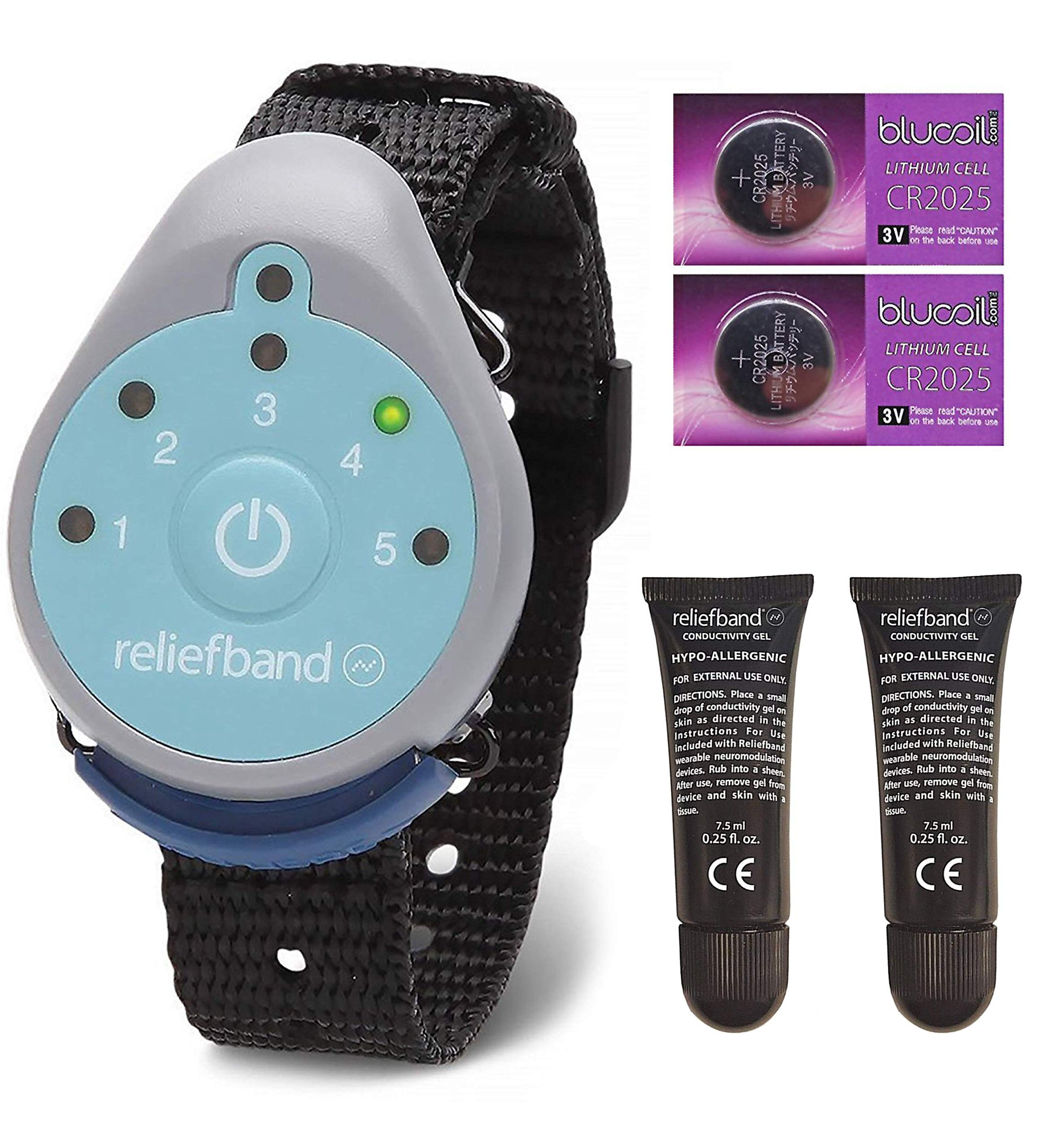 Reliefband for Motion and Morning Sickness Bundle with 2 Replacement Conductivity Gel Tubes 7.5ml, and 2 Blucoil CR2025 Batteries by blucoil