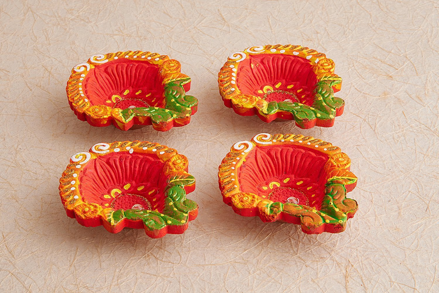 Set of 4 Diwali Decorations Colorful Oil Lamp Diya For Pooja/Puja Home Decor (Multicolor4)