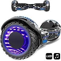Markboard gyropode 6.5 Pouces Bluetooth MS6, Gyropode avec Pneu à LED de Couleur, Smart Scooter Électrique Auto-équilibrage EL-ES01(Camouflage)