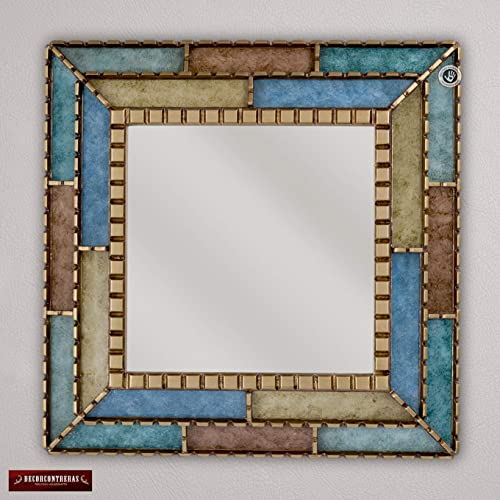 handmade decorative mirror 181 from peru bathroom mirror for wall decor turquoise ornate - Decorative Bathroom Mirrors
