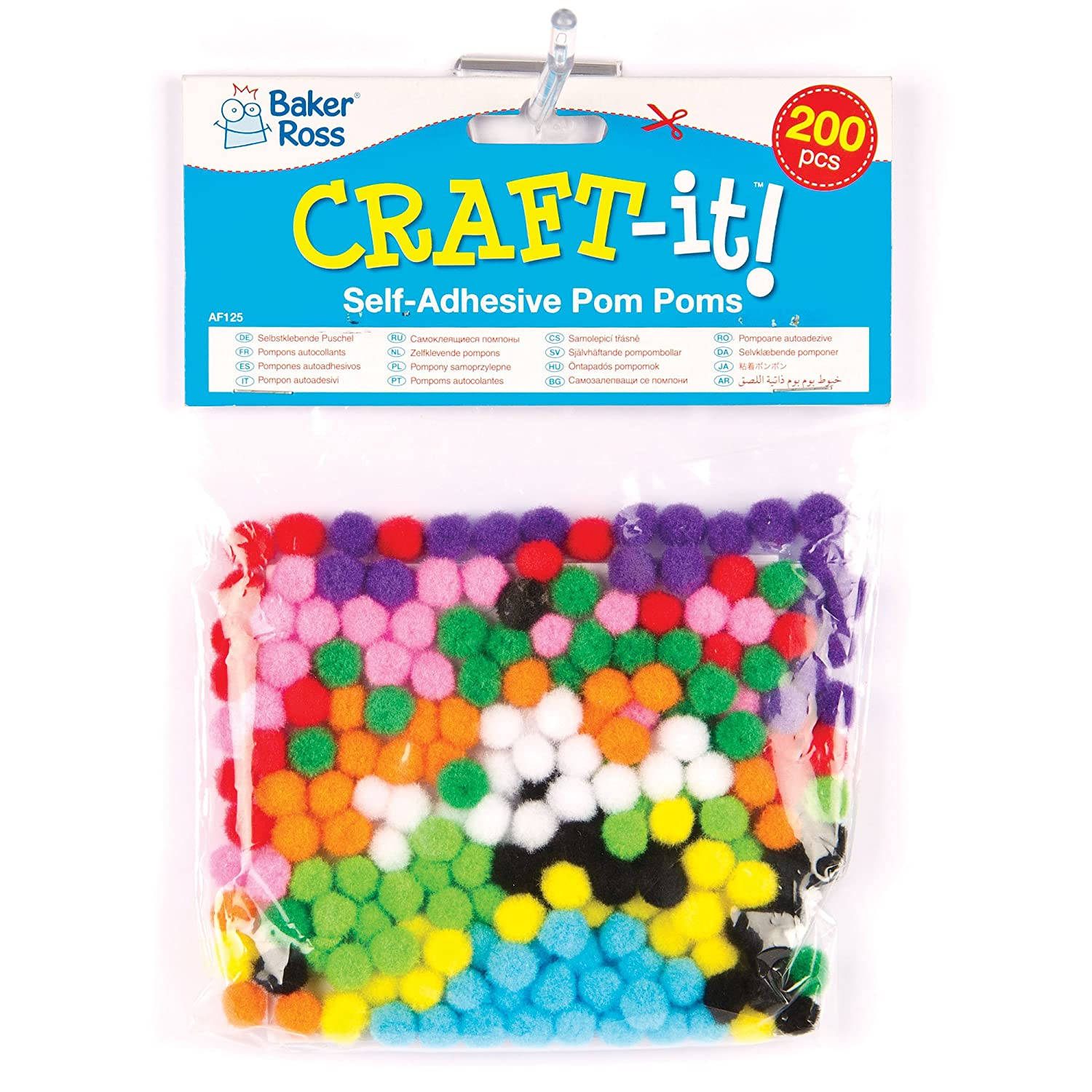 Craft pom poms in bulk - Amazon Com Self Adhesive Pom Poms For Children For Crafting Pack Of 200 Toys Games