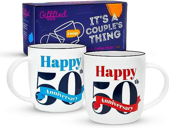 Idée Cadeau Couple 50 Ans Gifffted Tasses 50 Ans Anniversaire, Mug Original Idée Cadeau