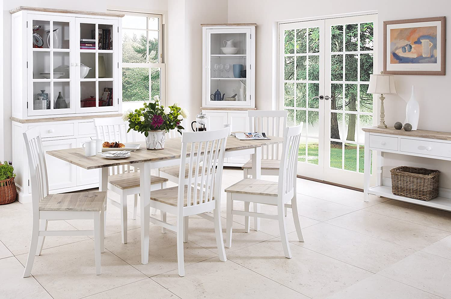 Florence extending table and 6 chairs set kitchen dining table and chair set in white colour with limed hardwood table top amazon co uk kitchen home