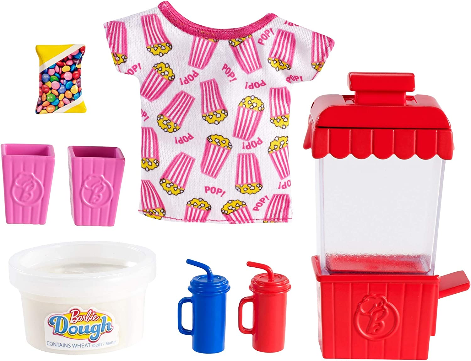 Barbie Cooking & Baking Accessory Pack with Popcorn-Themed Pieces, Including T-Shirt for Doll, Popcorn Machine Mold & Container of Molded Dough, Ages 4 Years Old & Up, Multi
