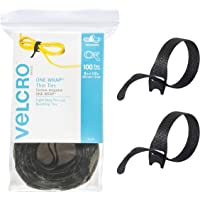 "VELCRO Brand ONE-WRAP Cable Ties - 100Pk - 8 x 1/2"" Black Cord Organization Straps - Thin Pre-Cut Design - Wire…"