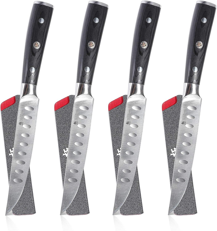 "KYOKU Samurai Series - 5"" Steak Knives Set of 4 with Sheath & Case - Full Tang - Japanese High Carbon Steel - Pakkawood Handle with Mosaic Pin..."