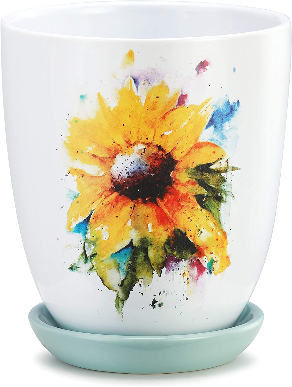 Dean Crouser Sunflower 6.5 inch Ceramic Stoneware Flower Pot with Saucer