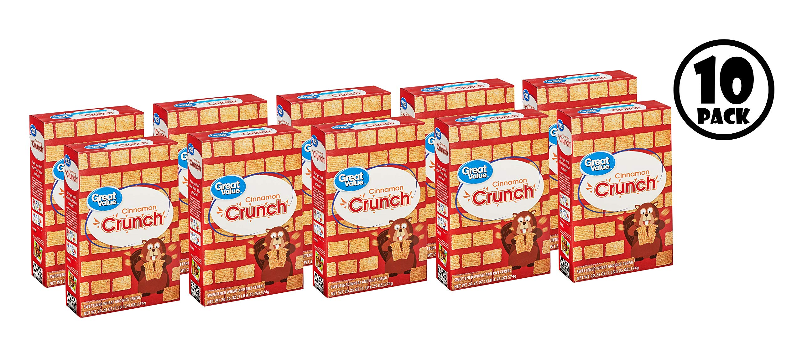 (10 Pack) Great Value Cinnamon Crunch Cereal, 20.25 oz