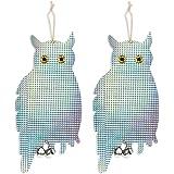 Set of 2 Pest Repellent Reflective Imitation Decoration Owl Figurines - Reflective Bird Scare Pest Repellent for Homes, Gardens, Farms