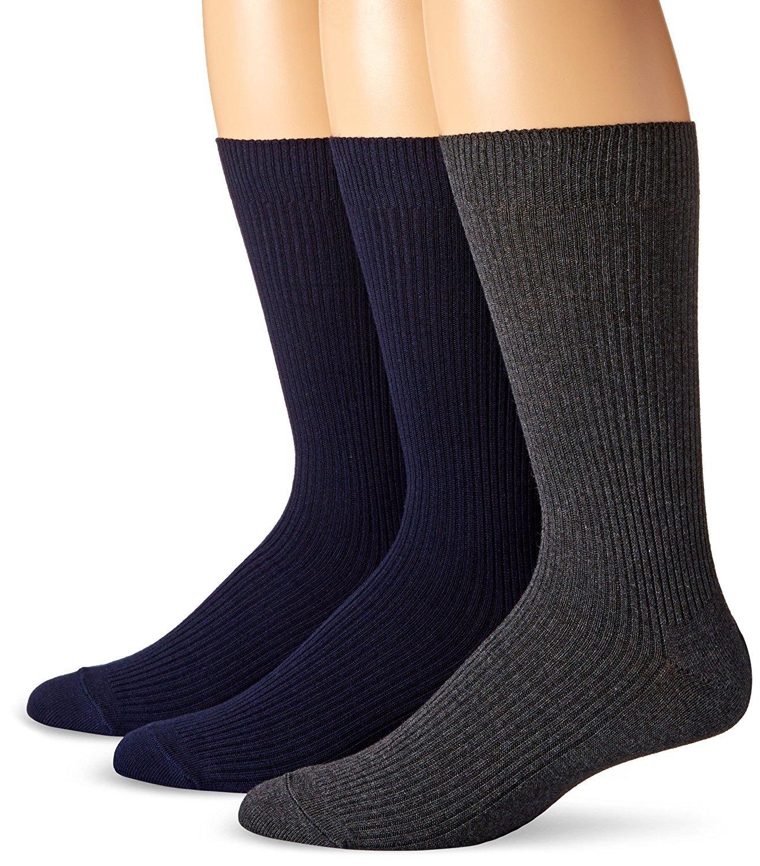 Dockers Men's 3 Pack Light Weight Crew, Blue Assorted, Sock Size:10-13/Shoe Size: 6-12