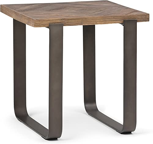Simpli Home Peyton Solid Aged Elm Wood and Metal 20 inch wide Square Modern Industrial End Side Table