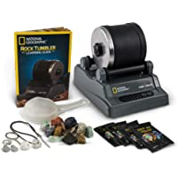 NATIONAL GEOGRAPHIC Hobby Rock Tumbler Kit - Rough Gemstones, 4 Polishing Grits, Jewellery Fastenings, Great STEM…