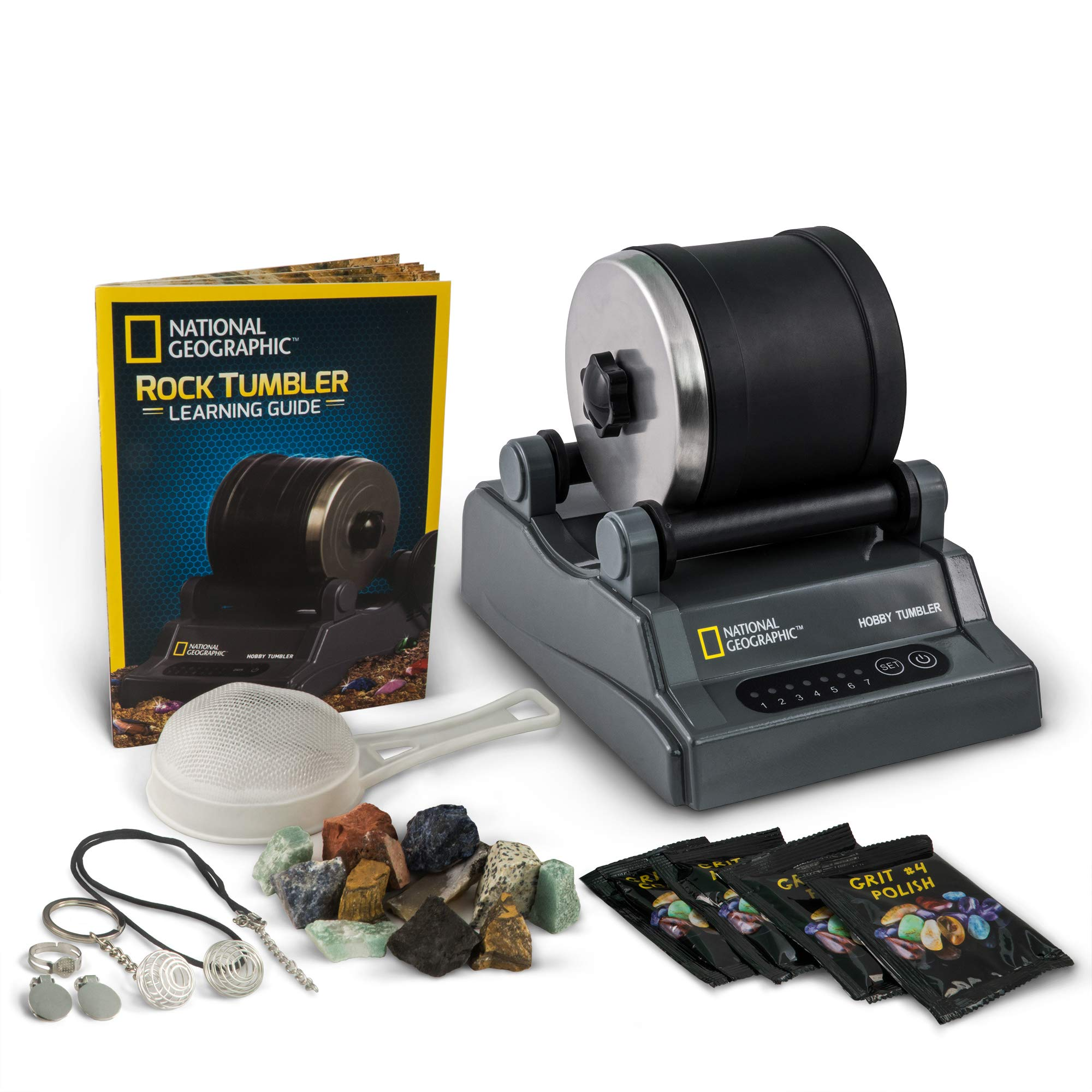 NATIONAL GEOGRAPHIC Hobby Rock Tumbler Kit - Includes Rough Gemstones, 4 Polishing Grits, Jewelry Fastenings & Detailed Learning Guide by NATIONAL GEOGRAPHIC