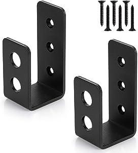 2x4 Door Barricade Brackets (2 pcs) | Drop Open Bar Holder Steel U Bracket for 2 by 4 Lumber as Security Door Reinforcement, Door Jammer, Tool Hanger for Your Home, Barn, Shed, Garage, Gate