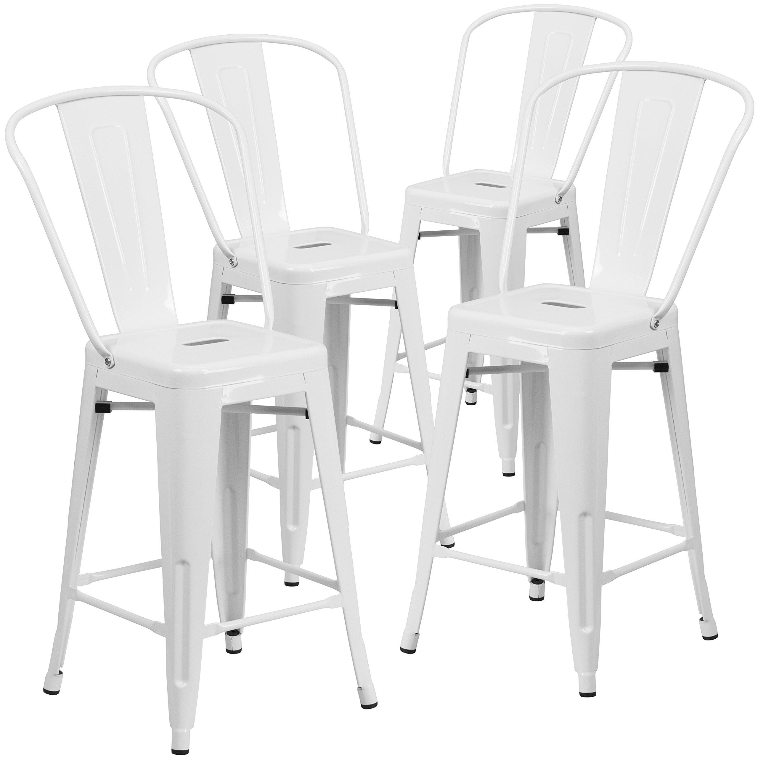 Flash Furniture 4 Pk 24 High White Metal Indoor Outdoor