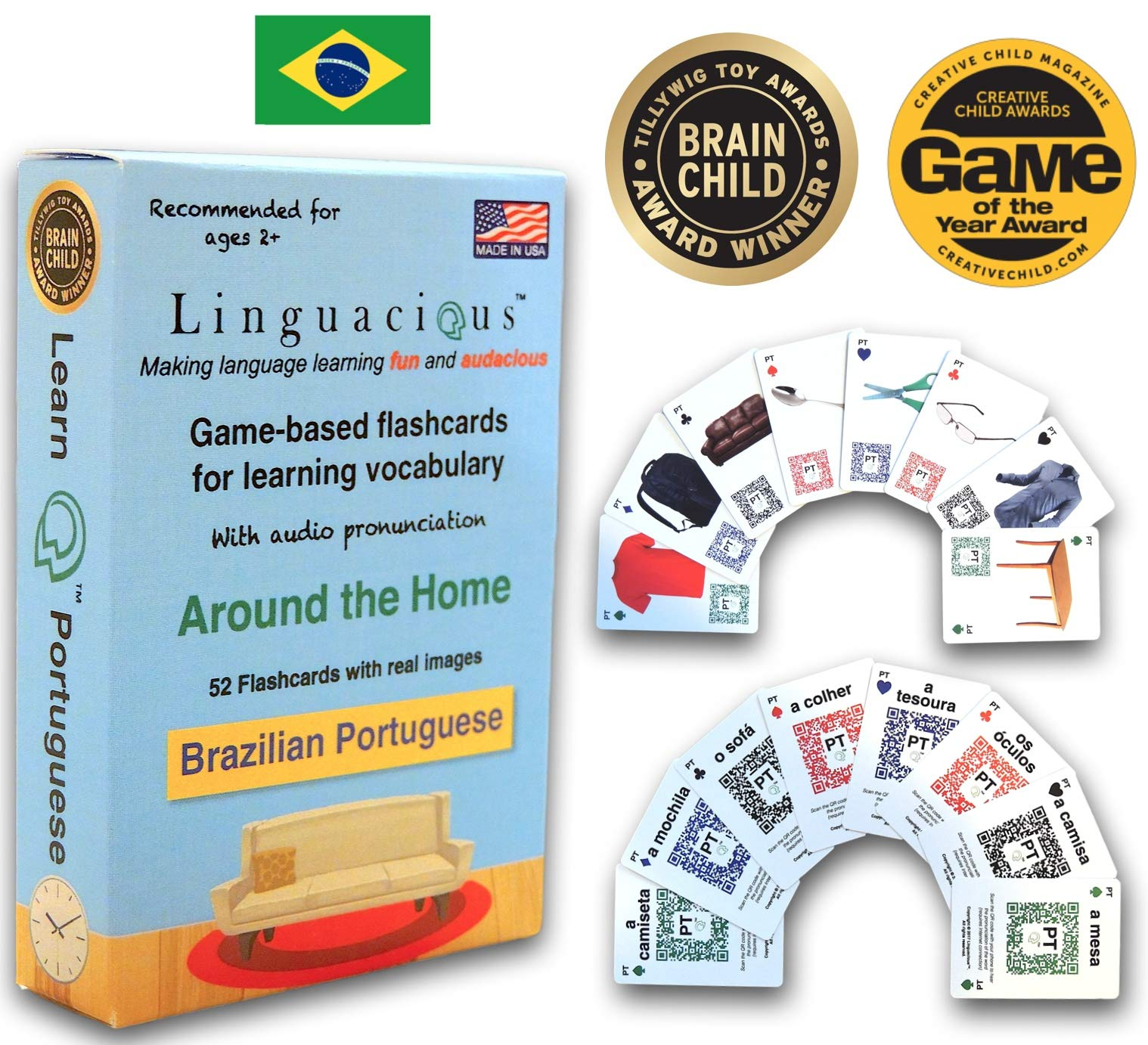 Linguacious Award-Winning Around The Home Portuguese Flashcard Game - The ONLY One with Audio!