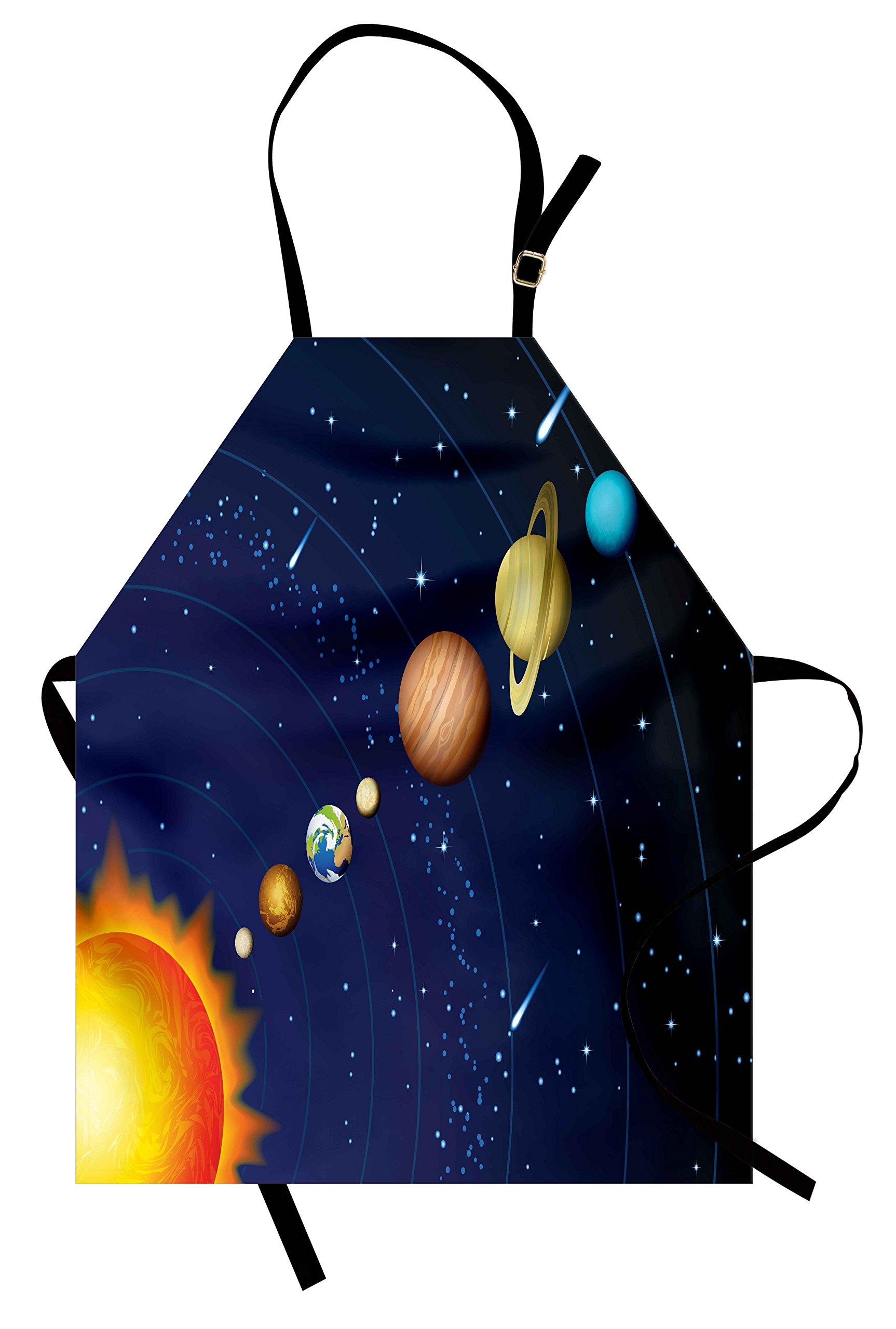 Ambesonne Space Apron, Solar System with Sun Uranus Venus Jupiter Mars Pluto Saturn Neptune Image, Unisex Kitchen Bib Apron with Adjustable Neck for Cooking Baking Gardening, Dark Blue Orange