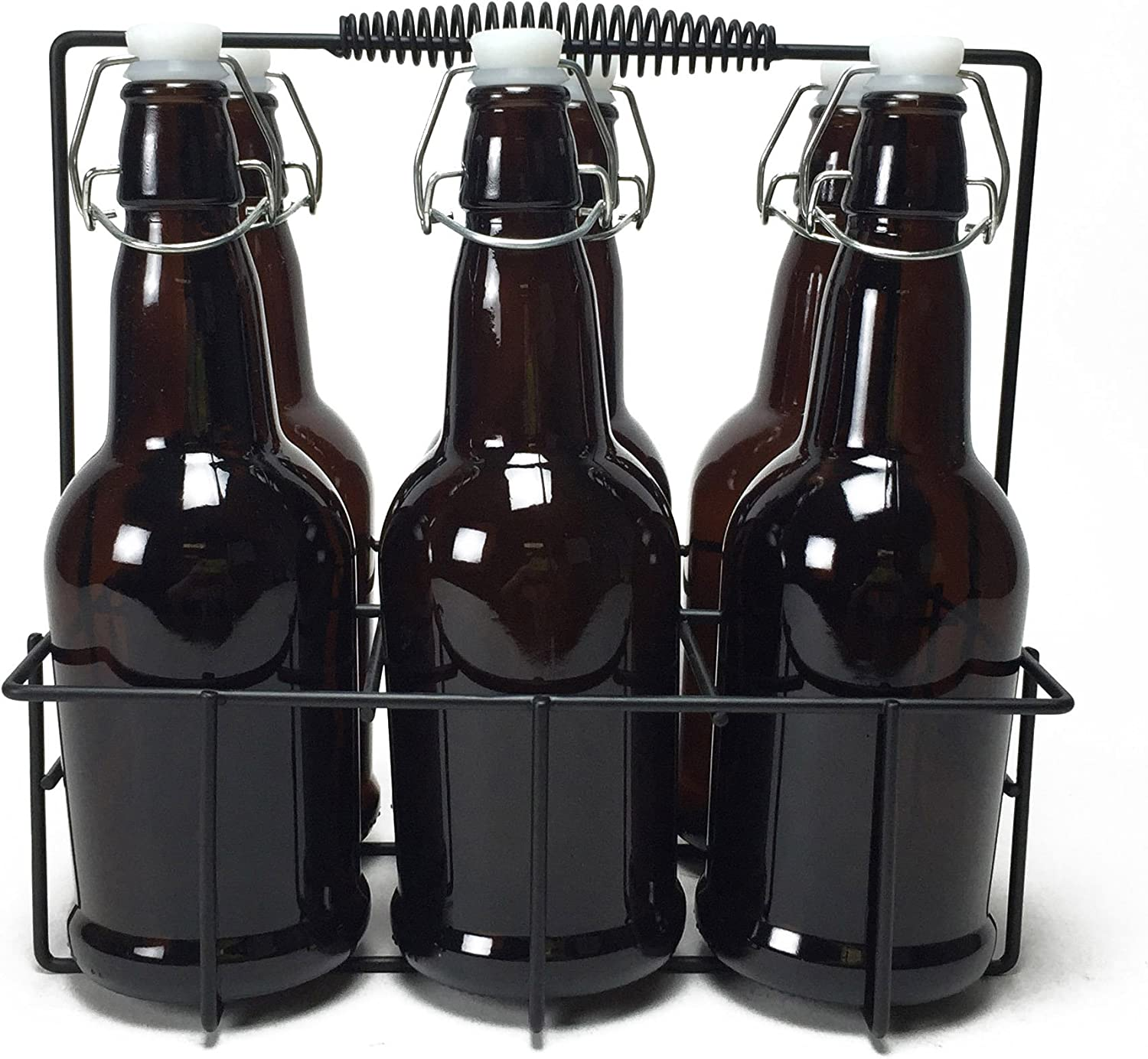 Circleware IBrew Glass Water Bottle Carafe with Hermetic Locking Swing Top Easy Wire Lid Stopper and Metal Caddy Stand, Set of 7, 16.9 oz, 6pc, Brown Beer