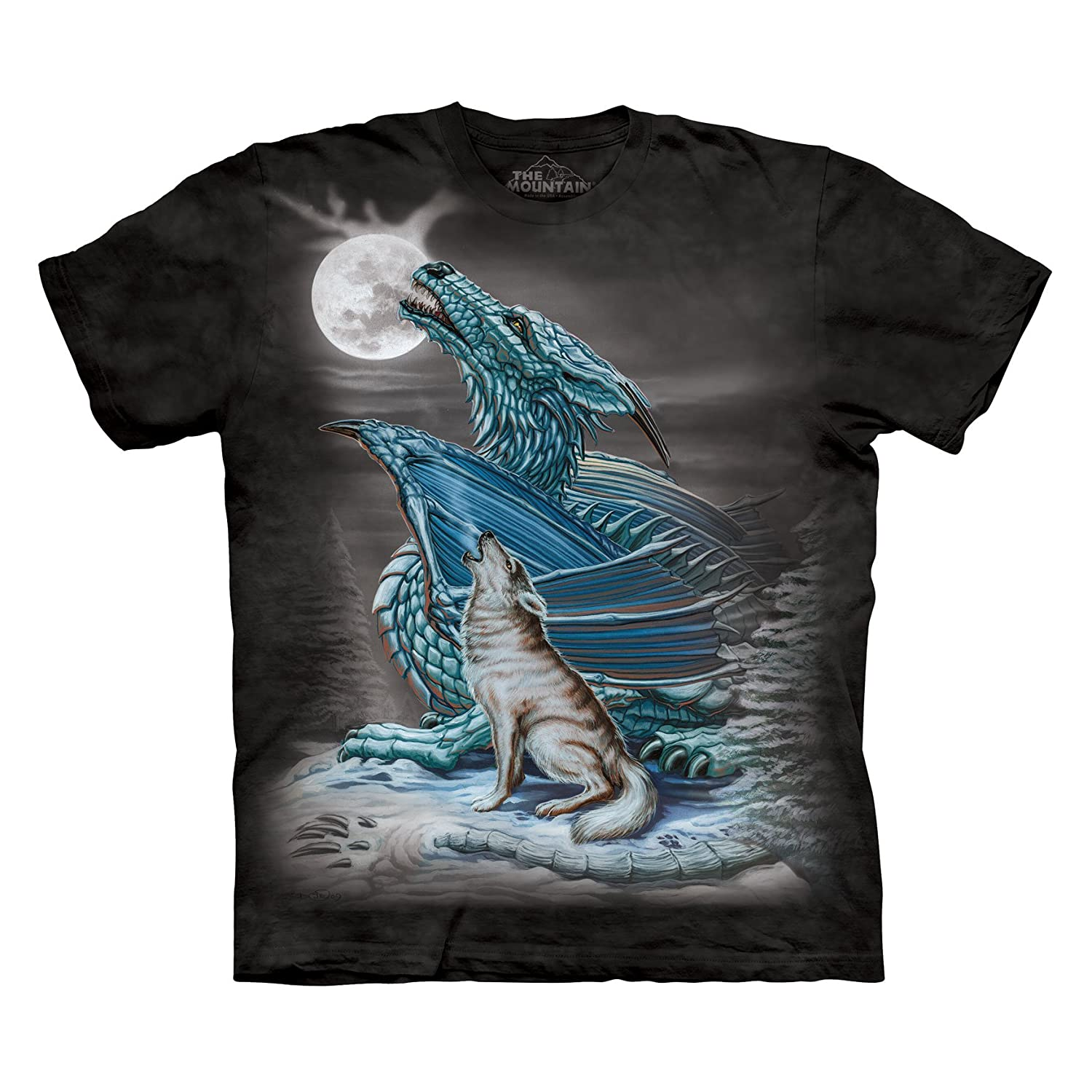 the mountain men 39 s dragon wolf moon t shirt blue large. Black Bedroom Furniture Sets. Home Design Ideas