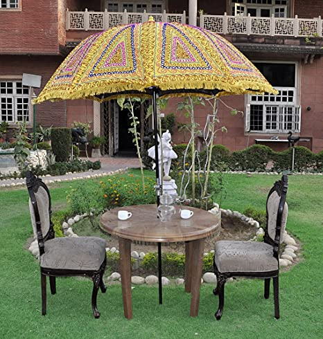 Lalhaveli Ethnic Handmade Decorative Embroidered Design Vintage Umbrella 52 X 72 Inches