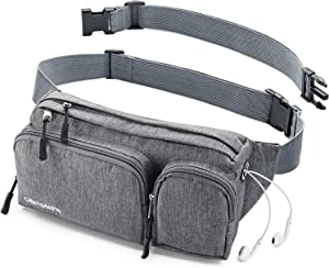 Fanny Pack For Women & Men Cute Waist Bag - Hiking Travel Camp Running - Headphone Hole, Money Belt with 6 Pockets, Strap Extension - Easy Carry Any Phone, Passport, Wallet - Water Resistant Holder