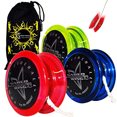 Yomega Fireball Saber-Wing Flared Shaped Yoyo with Starburst Response System - Supreme Quality Medium Yo-Yo for Kids & Adults + Travel Bag! Ideal Yo-Yo for Starters & Adults (Black/Green): Toys & Games