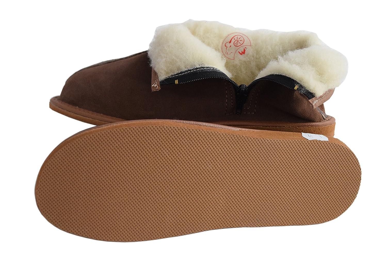 Damen Herren Unisex Natural Leder und Schafwolle ausgekleidet Hausschuhe Hausschuhe Hausschuhe Stiefel Größe 3-12, braun - Braun, Wildleder - Größe  38 EU 2aca38