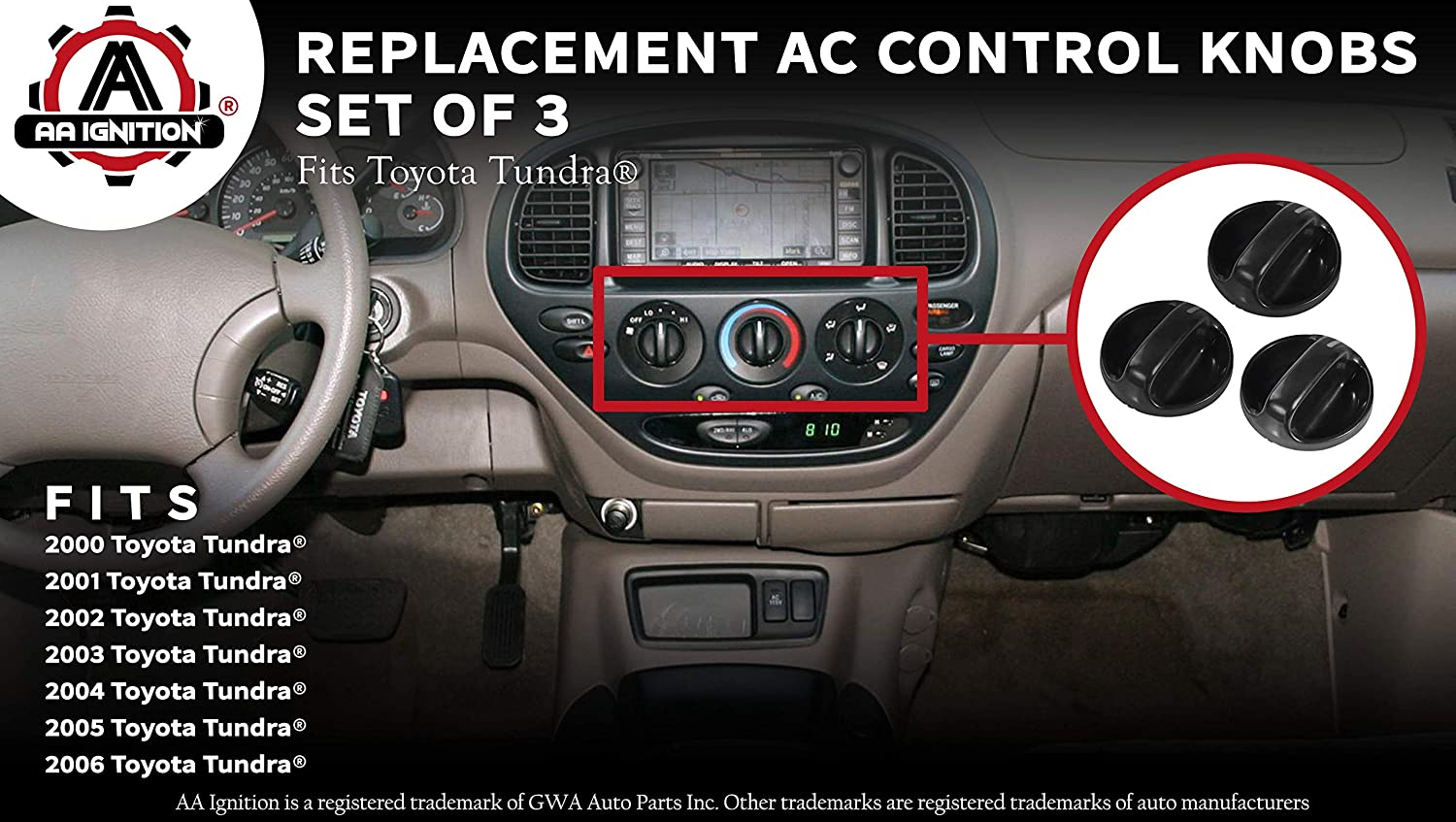 AC Climate Control Knob - Set of 3 - Replaces 55905-0C010, 559050C010 -  Fits Toyota Tundra 2000, 2001, 2002, 2003, 2004, 2005, 2006 - Air  Conditioner