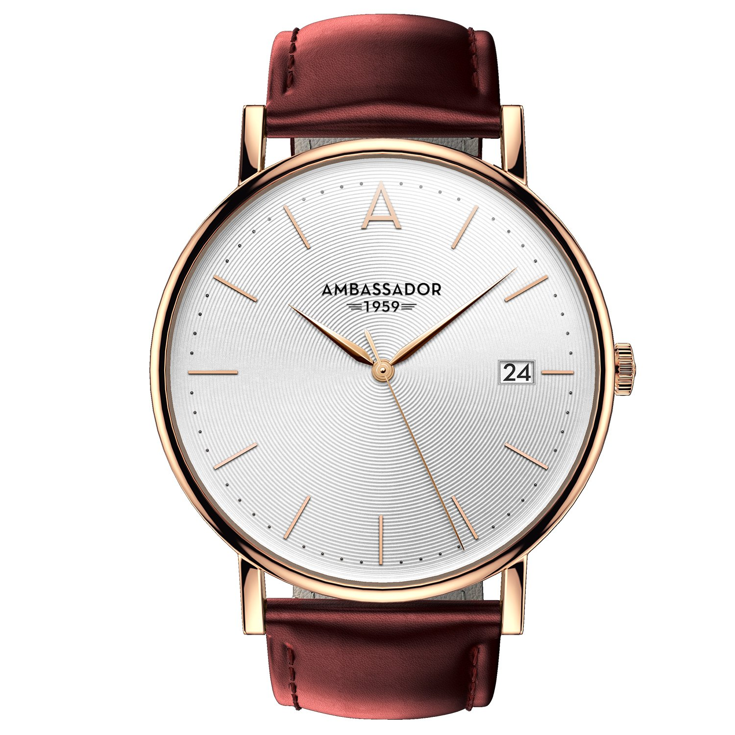 Ambassador Luxury Watch for Men - Heritage 1959 Gold Case with Burgundy Leather Strap with Swiss Quality