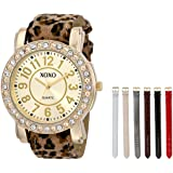 XOXO Women's XO9065 Analog Display Analog Quartz Gold-Tone Watch with Interchangeable Straps