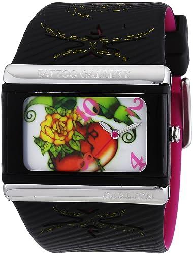 Carlton Tattoo Gallery YP6329_G_D - Reloj de mujer de cuarzo, correa de caucho color negro: Amazon.es: Relojes