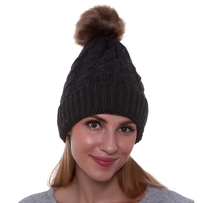 864749a1 GRAMONI Women's Winter Ribbed Knit Faux Fur Pompoms Chunky Lined Beanie Hats
