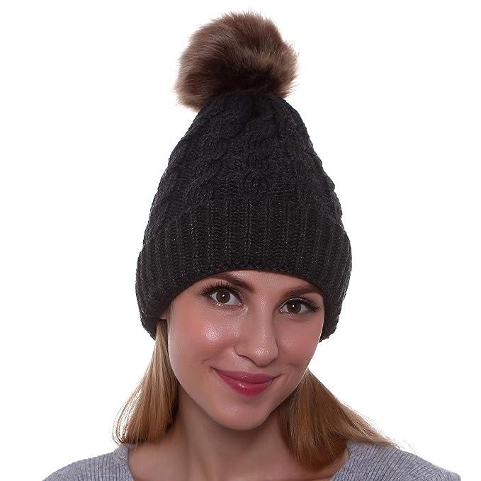 0d7a18e88 GRAMONI Women's Winter Ribbed Knit Faux Fur Pompoms Chunky Lined Beanie Hats
