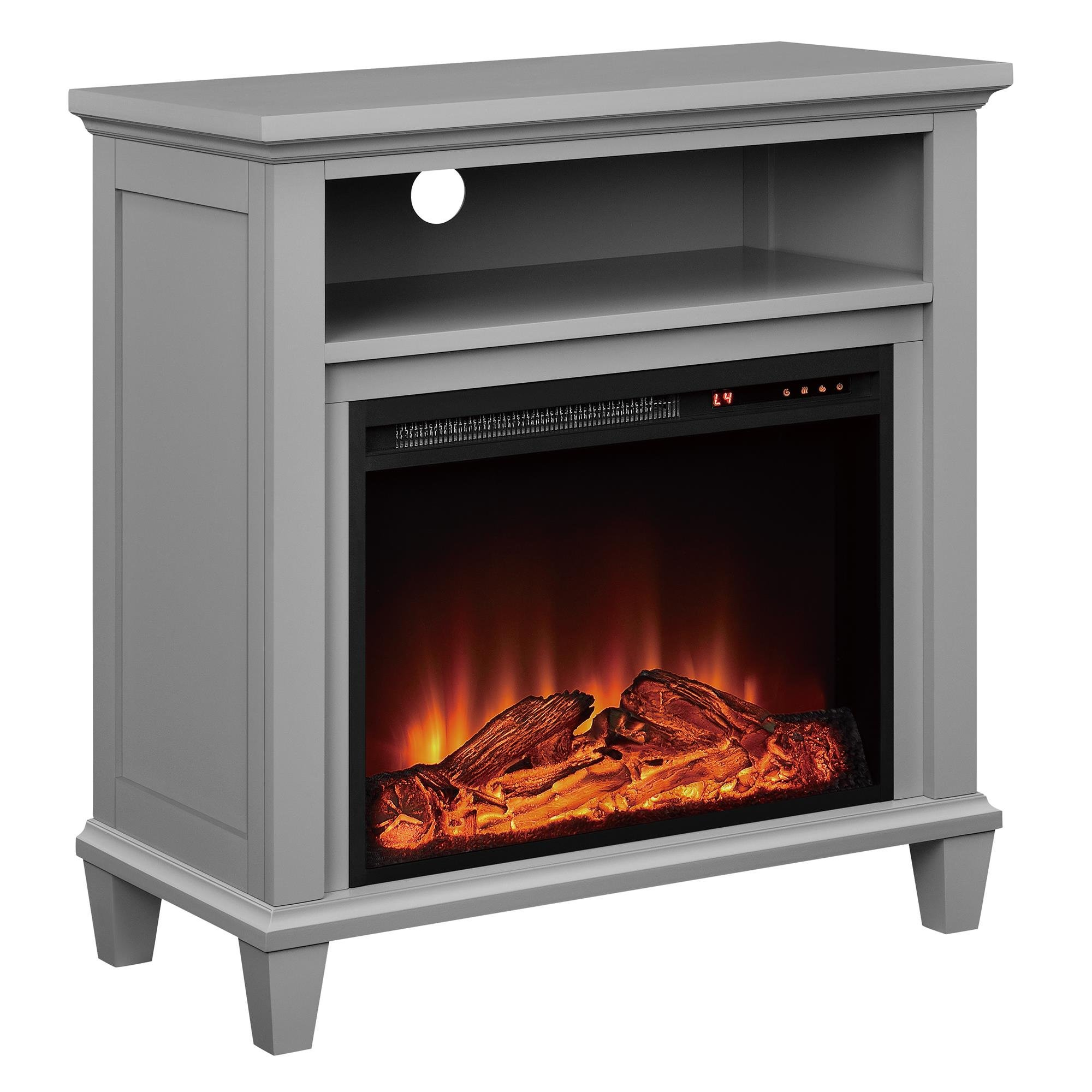 Ameriwood Home Ellington Electric Fireplace Accent Table TV Stand for TVs up to 32'', Gray