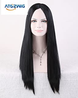 Atozwig Sexy Women New Cosplay Party Long Straight No Bangs Natural Black Hair Cosplay Wigs Costume