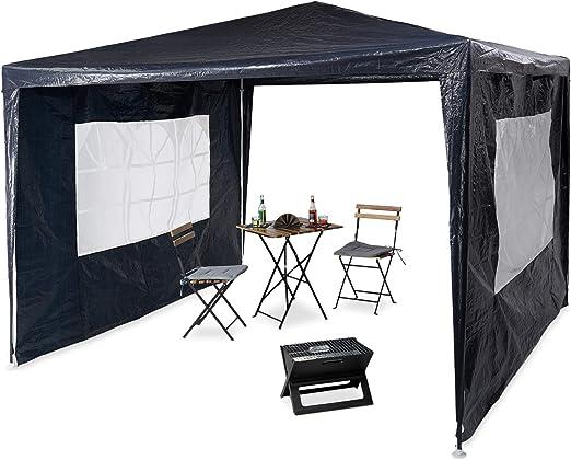 Relaxdays Pavilion 3x3 m, 2 partes laterales, estructura de metal, lona PE, ventana, carpa de fiesta del festival, cerrado, azul: Amazon.es: Jardín