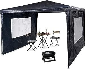 Relaxdays Pavilion 3x3 m, 2 partes laterales, estructura de metal, lona PE, ventana, carpa de fiesta del festival, cerrado, azul