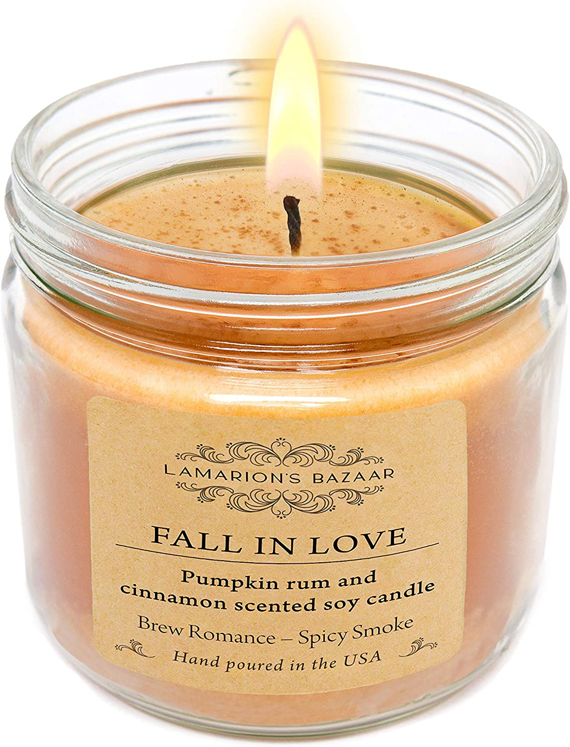 Lamarion's Bazaar Fall in Love - Pumpkin Rum and Cinnamon - Large Soy Candle in a Kraft Box