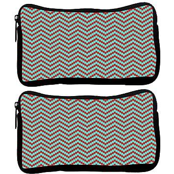 Snoogg Pack De 2 tiras de color rojo y verde tela funda estudiante pluma lápiz caso bolsa de cosméticos bolsa de monedero: Amazon.es: Oficina y papelería