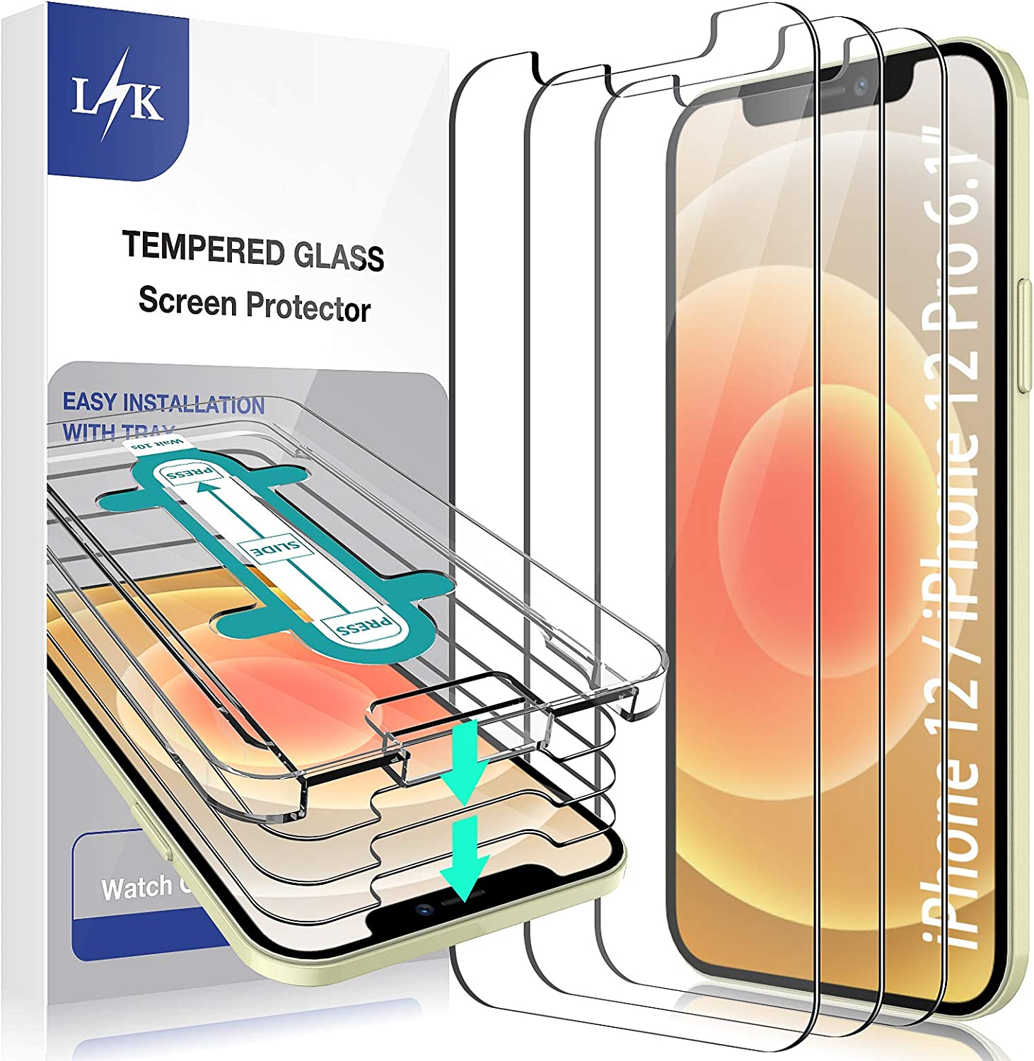 LϟK [3 Pack] Screen Protector Compatible With iPhone 12 / iPhone 12 Pro 5G 6.1 inch Tempered Glass Film [Easy Installation Kit] Full Protection Durable, HD Clear, Case Friendly