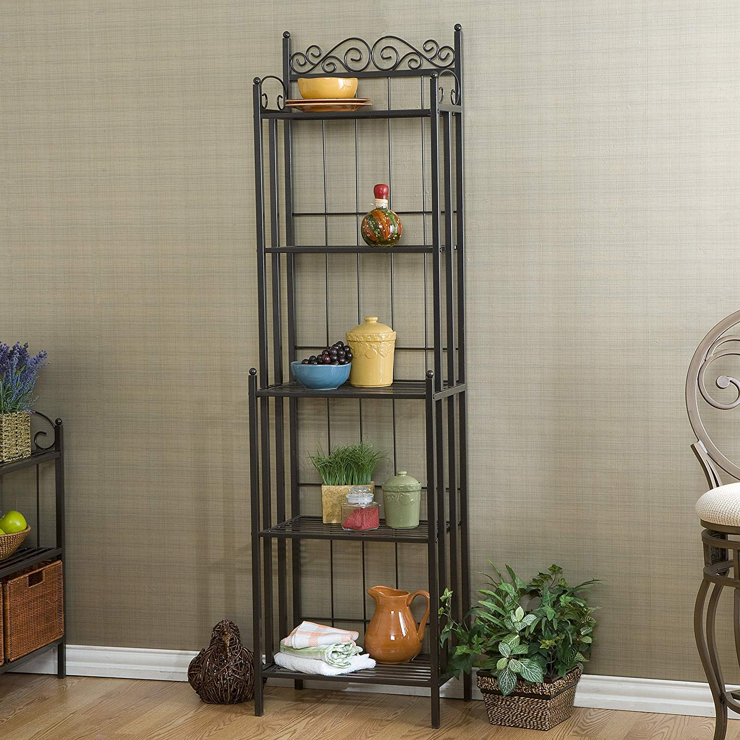 Versatile Vertical Victorian Style 5 Tier Standing Narrow Baker Rack, Planter Stand Storage Shelf for Indoor with Iron Frame, Balcony Shelving Unit, Rustproof Organizer for Corner, Plant Shelves