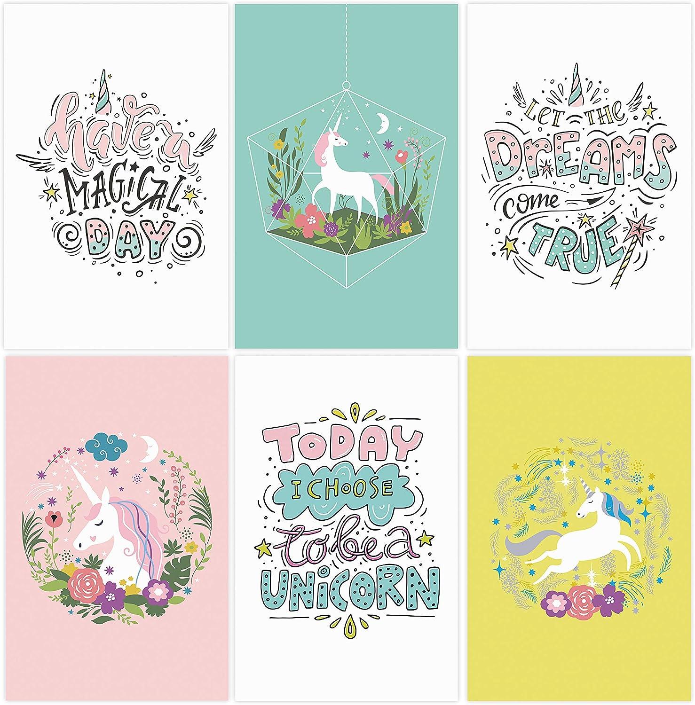 "Set of 6 11x17"" Unicorn Wall Art Posters | Unicorn Decorations for Girl's Room | Unicorn Poster for Girl Nursery Decor | Teen Girl Bedroom Decor | Kids Wall Art | Baby Girl Wall Decor"
